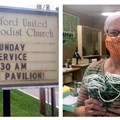 Above, left: Telford United Methodist Church announces outdoor, in-person worship on Aug. 16. Right: Judy Grubb of Church Street UMC helps deliver homemade masks to students at a Knoxville school.